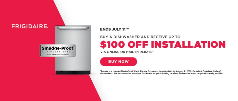 Frigidaire $100 Dishwasher Install June 2018