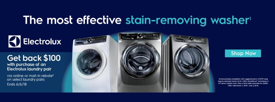 Electrolux $100 Laundry Pair Rebate March 2018