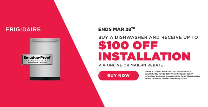 Frigidaire $100 Dishwasher Install March 2018