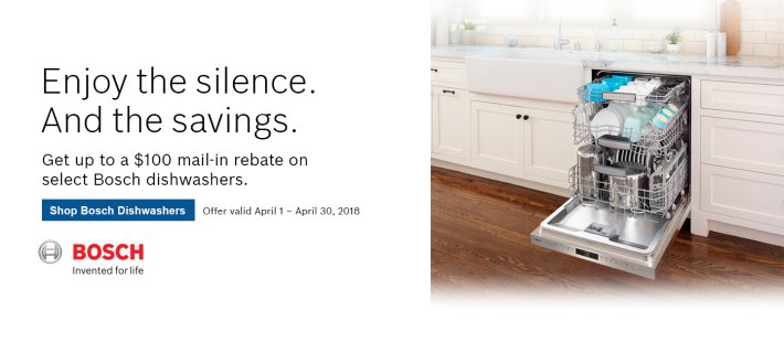 Bosch Dishwasher Rebate April 2018