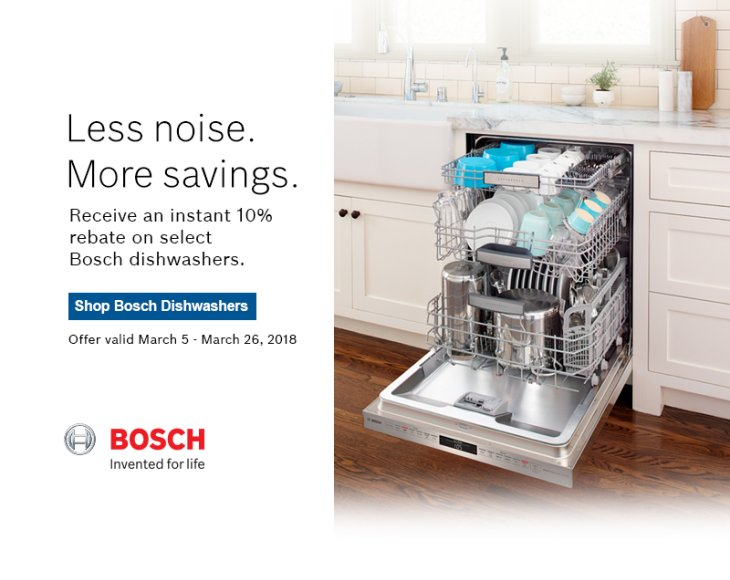 Bosch Dishwasher Instant Rebate March 2018