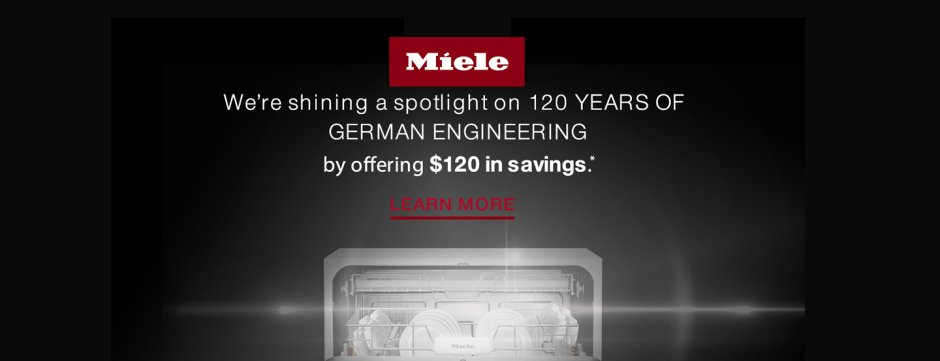 Miele Dishwasher Savings Jan 2019