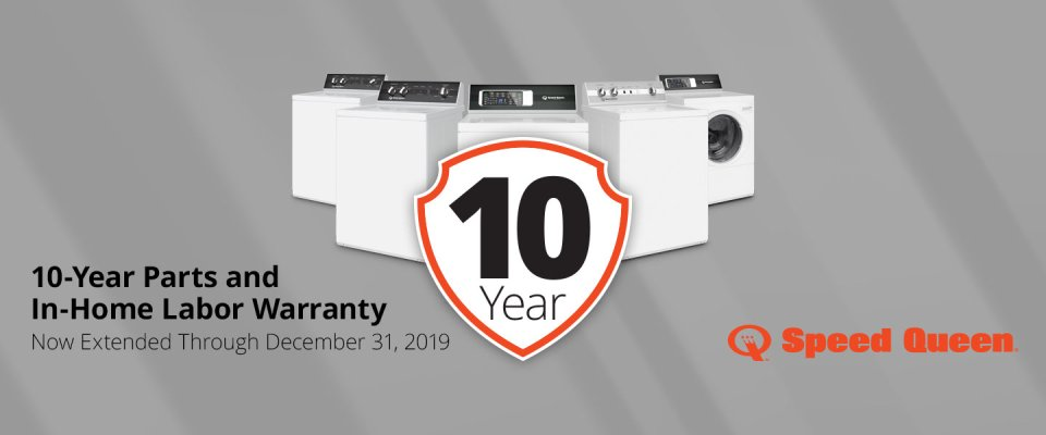 Speed Queen 2019 Q4 10 Year Warranty Promotion for Levels 1-3