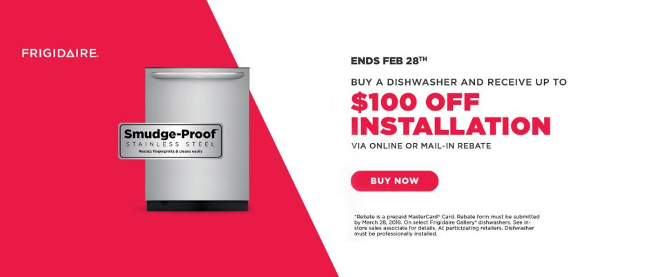 Frigidaire $100 Dishwasher Install Feb 2018