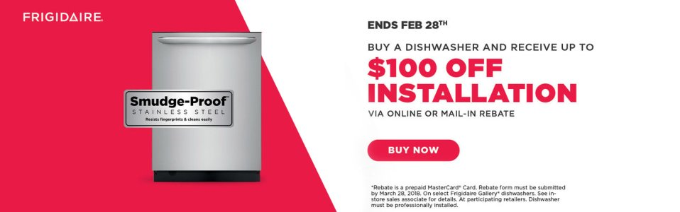 Frigidaire $100 Dishwasher Install Feb 2018