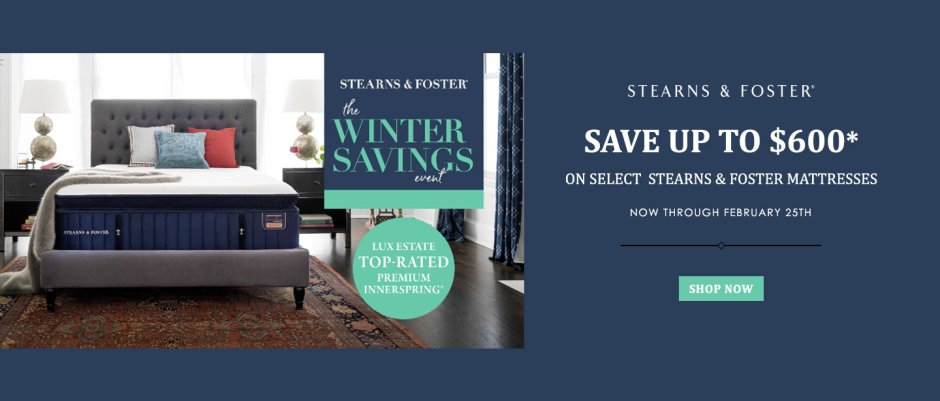 Stearns & Foster Presidents Day 2019