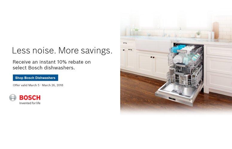 Bosch Dishwasher Instant Rebate March 2018