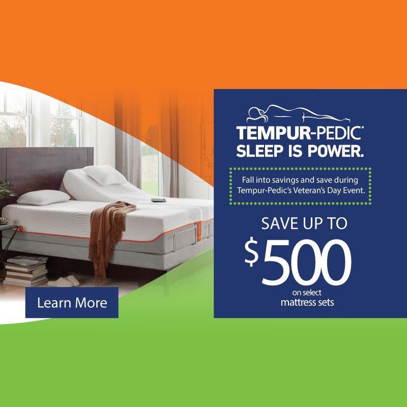 sleep tempurpedic veterans day event