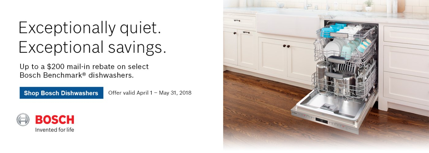 Bosch Benchmark Dishwasher Rebate Q2 2018