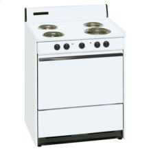 SUMMIT SEM210 is a 30 inch all-electric (220V) range with large deep oven and drop down storage beneath oven. Made in USA