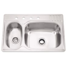 Large/Small Double Bowl 4 Faucet Holes Standard Series Double Bowl Top-Mount(Deck Silk/Bowl Silk)