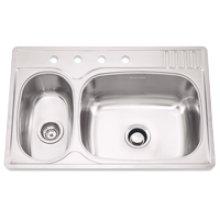 Large/Small Double Bowl 4 Faucet Holes Standard Series Double Bowl Top-Mount(Deck Silk/Bowl Silk)