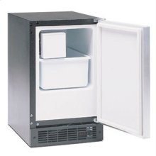 """Marvel Ice Machines - 15IM. Left Hinge, Black cabinet, BLACK full wrap door and bar handle,  Manual defrost.. No drain required. 15 inches wide (24-1/4""""H x 14-7/8""""W x 22-1/8""""D)."""