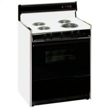 SUMMIT SEM230DK is a 30 inch deluxe electric range with clock, timer, black glass see-through oven door with oven light and large oven with broiler. Made in USA.