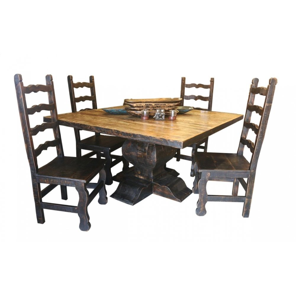 Factory 4 Rustic Square Table w/ Reclaimed Natural Top