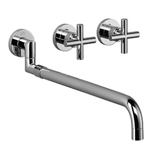 Wall-mounted three-hole kitchen mixer with pull-out spout - chrome Product Image