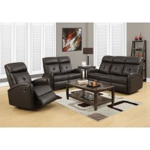 RECLINING-SOFA DARK BROWN BONDED LEATHER