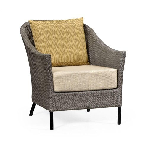 Occasional Armchair with Dark Rattan, Upholstered in COM
