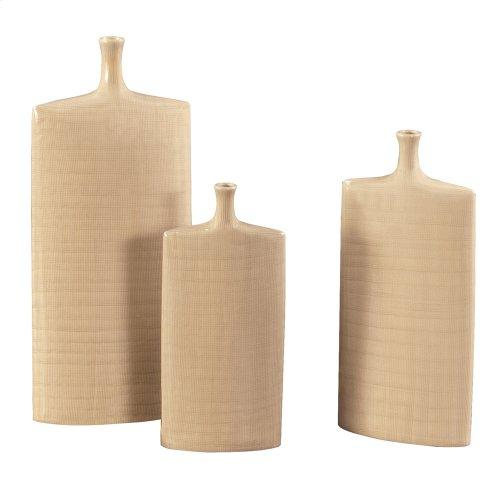 Cream Glaze w/ Crosshatch Detail Ceramic Vases - Set of 3