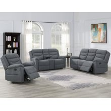 "Chenango Manual Motion Console Loveseat Dark Gray 72'x37""x42"""