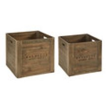 Wood Square Crates with Magnolia Logo - Set of 2 Sizes