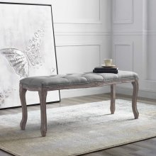 Regal Vintage French Upholstered Fabric Bench in Light Gray