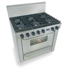 "36"" Six Burner All Gas Range, Sealed Burners, Stainless Steel"