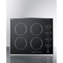 """24"""" Wide 4-burner Electric Cooktop In Smooth Black Ceramic Glass Finish"""