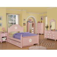 Pink Finish Twin Size Bedroom Set