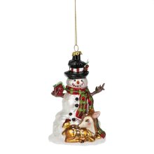 Snowman with Deer Ornament.