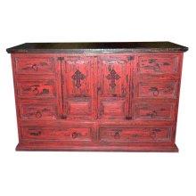Red Scraped Dresser Cross
