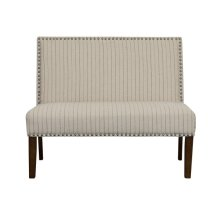 Pinstripe Pattern Entryway Bench in Natural Cream