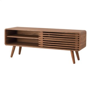 """Wilson 46"""" KD Slat Low TV Stand, Walnut (ASSEMBLY REQUIRED)"""