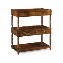 Regency style mahogany three-tier etag re four drawers