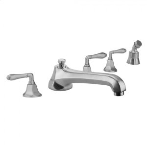 Antique Brass - Astor Roman Tub Set with Low Spout and Smooth Lever Handles and Angled Handshower Mount Product Image