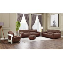 SU-AX6816-SLAO  Leather 4 Piece Living Room Set  Sofa  Loveseat  Aviator Chair with Chrome Arms  Ottoman  Brown