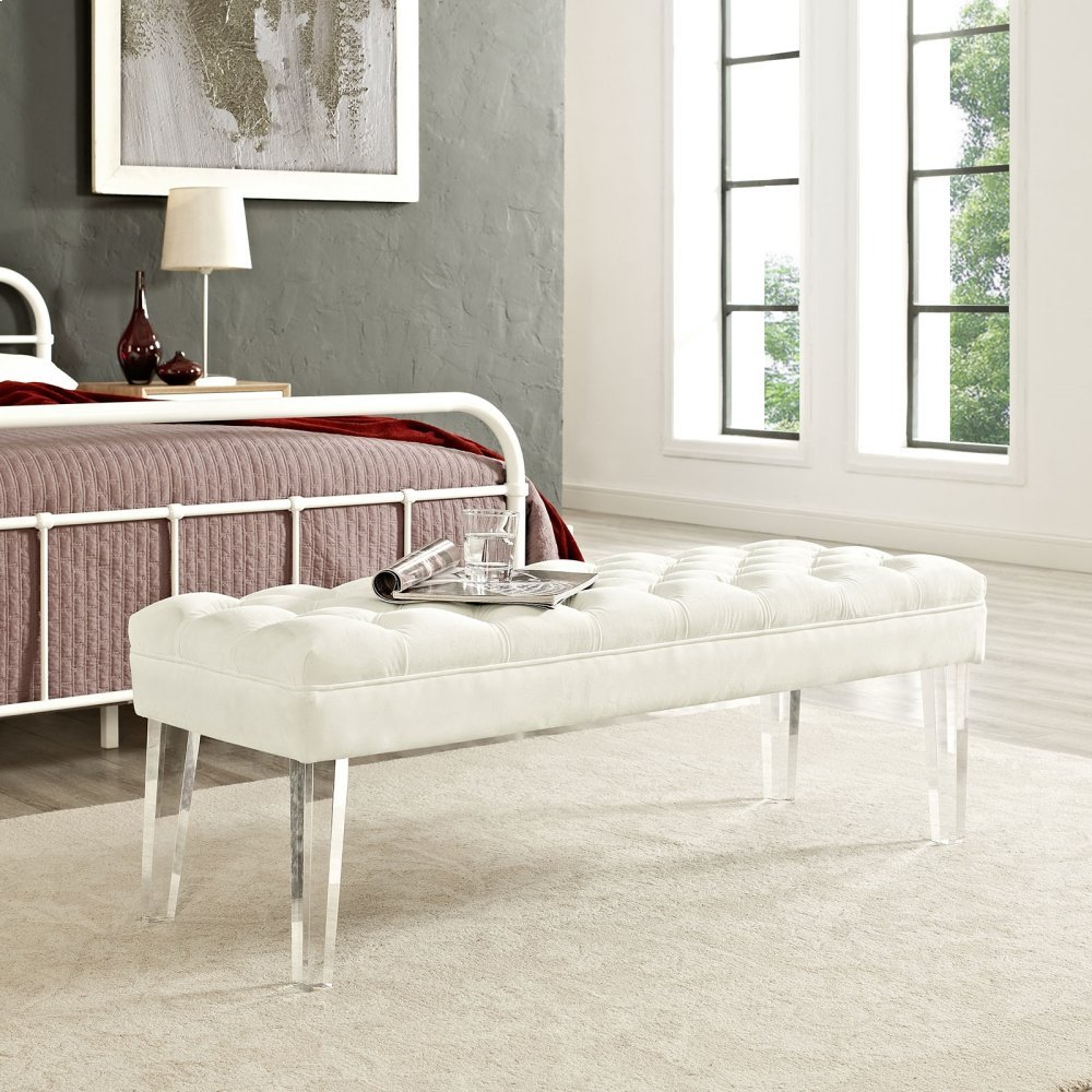Valet Performance Velvet Bench in Ivory