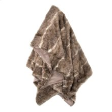 AZTEC THROW- TAUPE CREAM  Faux Fur