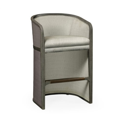 Grey & Dark Grey Rattan Tub Bar Stool, Upholstered in Standard Outdoor Fabric