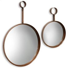 Round Bronze Mirror Set  Large 24in X 36in Small 13in X 20in  Metal Wall Mirror Set Of2