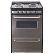 "Slide-in electric range in slim 24"" width with stainless steel doors and black porcelain top"