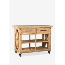 "(LS) Farmhouse 44"" Kitchen Island with Zinc top..pine wood..finish: rustic natural..(44X22X36)"