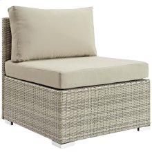 Repose Sunbrella® Fabric Outdoor Patio Armless Chair in Light Gray Beige