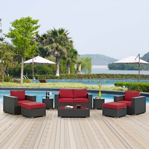 Sojourn 8 Piece Outdoor Patio Sunbrella® Sectional Set in Canvas Red