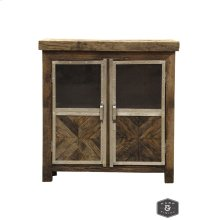 AYERS CABINET  Reclaimed Railroad Tie Wood with Clear Glass and Chrome Finish on Metal Trim  2 Do