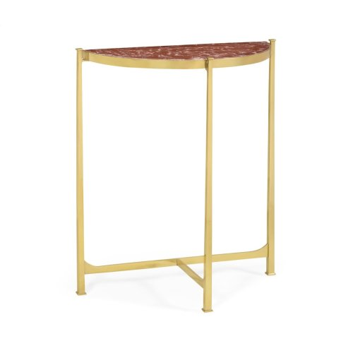 Small Solid Brass & Red Brazil Marble Top Demilune Console Table