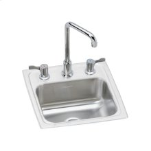 "Elkay Pacemaker Stainless Steel 15"" x 15"" x 6-1/8"", Single Bowl Drop-in Bar Sink + Faucet Kit"