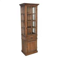 Pine Narrow Glass Cabinet