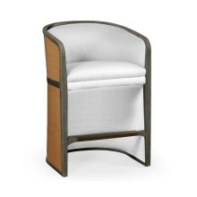 Grey & Tan Rattan Tub Counter Stool, Upholstered in COM