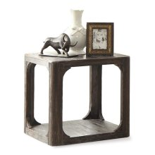 Bellagio Square Side Table Weathered Worn Black finish